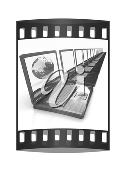 Computer Network Online concept with Eco Wooden  Laptop and Earth on white background. The film strip
