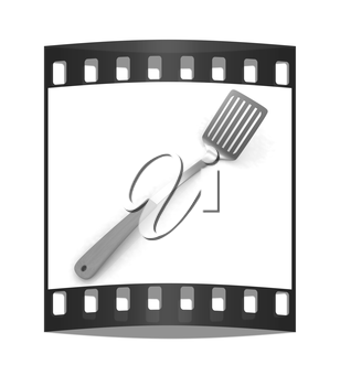 Gold cutlery on white background. The film strip