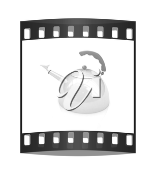 Glossy metall kettle on a white background. The film strip