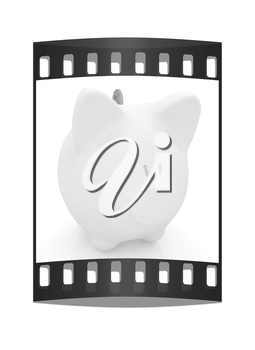 piggy bank and falling coins on white background. The film strip