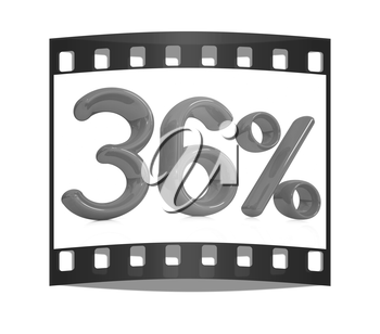 3d red 36 - thirty six percent on a white background. The film strip