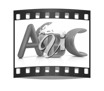 abc text and earth on white background. The film strip