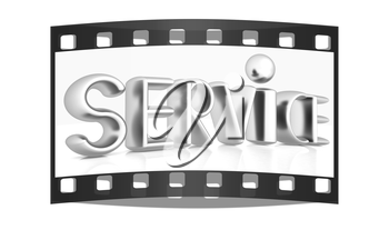3d metal text service on a white background. The film strip