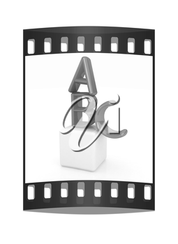 alphabet and blocks on a white background. The film strip