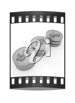 gold coins with 3 major currencies on a white background. The film strip