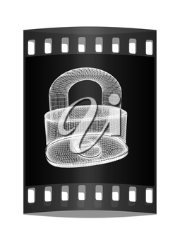 3d model lock isolated on a black background. The film strip