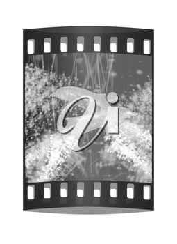 Golden Dolphin - a symbol of love and devotion in gold spray and stars on a fantastic festive background. The film strip