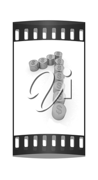 the number one of gold coins with dollar sign on a white background. The film strip