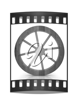 wooden wheel on a white background. The film strip