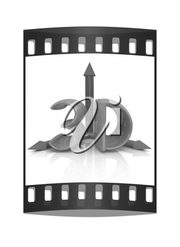 3d text on a white background. The film strip