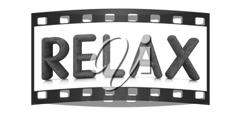 word Relax from the green grass isolated on white background. 3d illustration. The film strip