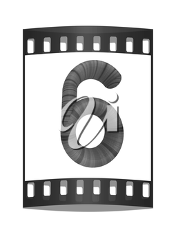 Wooden number 6- six on a white background. The film strip