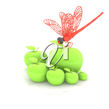 Dragonfly on apple. Natural eating concept