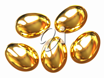 Set of Gold Eggs on a white background