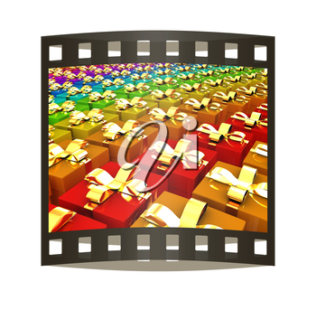 gifts box. The film strip