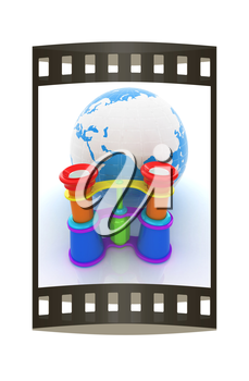 Worldwide search concept with Earth. The film strip