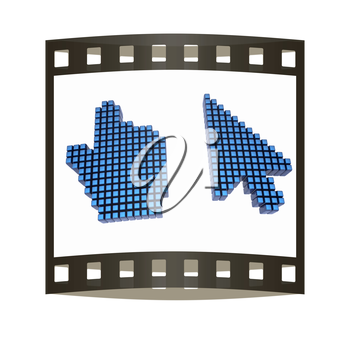 Set of Link selection computer mouse cursor on white background. The film strip