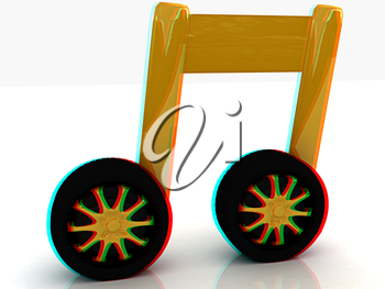 note is car-wheel on a white. Anaglyph. View with red/cyan glasses to see in 3D. 3D illustration