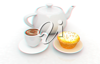 Appetizing pie and cup of coffee on a white background. Anaglyph. View with red/cyan glasses to see in 3D. 3D illustration