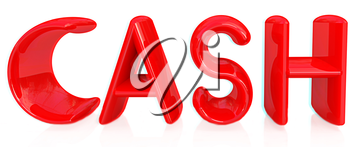 3d illustration of text 'cash' on a white background. Anaglyph. View with red/cyan glasses to see in 3D. 3D illustration