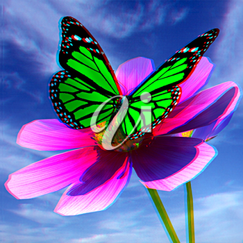 Beautiful Cosmos Flower and butterfly against the sky. Anaglyph. View with red/cyan glasses to see in 3D. 3D illustration