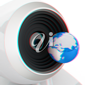 Web-cam and earth. Global on line concept on a white background. 3D illustration. Anaglyph. View with red/cyan glasses to see in 3D.