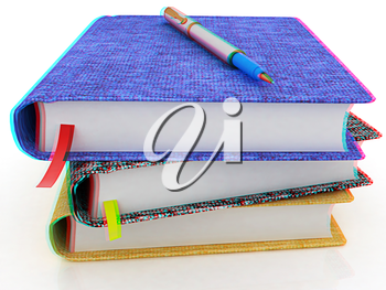 pen on notepad stack on a white background. Anaglyph. View with red/cyan glasses to see in 3D. 3D illustration
