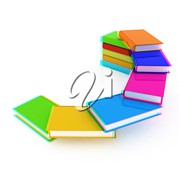 colorful real books on a white background. 3D illustration. Anaglyph. View with red/cyan glasses to see in 3D.
