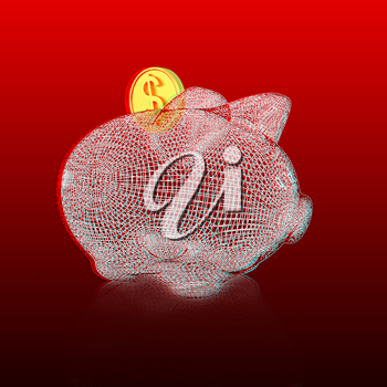 3d model piggy bank on gradient background. 3D illustration. Anaglyph. View with red/cyan glasses to see in 3D.