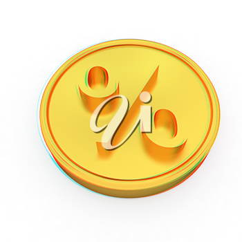 Gold percent coin on a white background. 3D illustration. Anaglyph. View with red/cyan glasses to see in 3D.