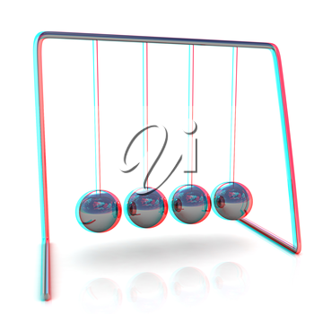 Newton's balls on white background. 3D illustration. Anaglyph. View with red/cyan glasses to see in 3D.