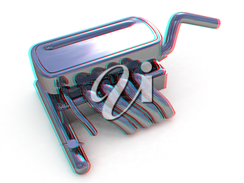 Exhaust system on a white background. 3D illustration. Anaglyph. View with red/cyan glasses to see in 3D.