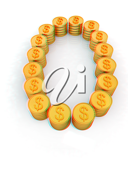 the number zero of gold coins with dollar sign on a white background. 3D illustration. Anaglyph. View with red/cyan glasses to see in 3D.
