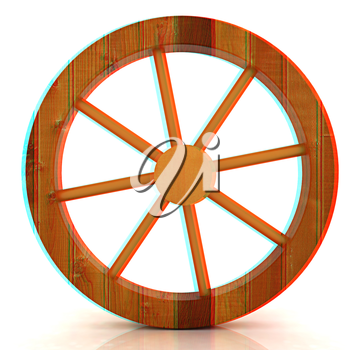 wooden wheel on a white background. 3D illustration. Anaglyph. View with red/cyan glasses to see in 3D.