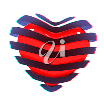 3d beautiful red glossy heart of the bands on a white background. 3D illustration. Anaglyph. View with red/cyan glasses to see in 3D.