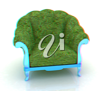 Herbal armchair on a white background. 3D illustration. Anaglyph. View with red/cyan glasses to see in 3D.