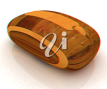 Wooden computer mouse on white background. 3D illustration. Anaglyph. View with red/cyan glasses to see in 3D.