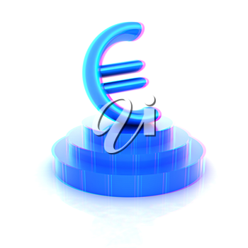 Euro sign on podium. 3D icon on white background (high details and quality of the rendering). 3D illustration. Anaglyph. View with red/cyan glasses to see in 3D.