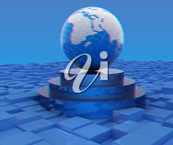 Earth on podium against abstract urban background. 3D illustration. Anaglyph. View with red/cyan glasses to see in 3D.