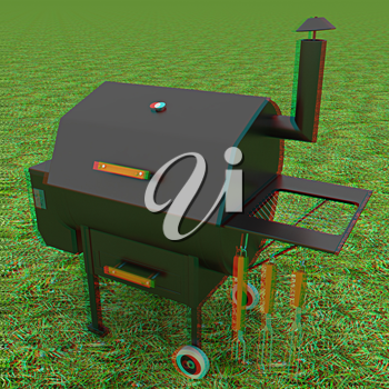 oven barbecue grill on the green grass. 3D illustration. Anaglyph. View with red/cyan glasses to see in 3D.