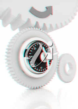 gears with lock. 3D illustration. Anaglyph. View with red/cyan glasses to see in 3D.