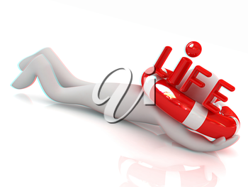 Man with life ring. 3d rendered illustration. 3D illustration. Anaglyph. View with red/cyan glasses to see in 3D.