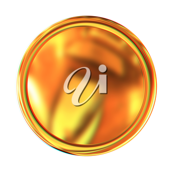 Golden Web button isolated on white background. 3D illustration. Anaglyph. View with red/cyan glasses to see in 3D.
