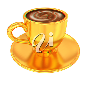 Gold coffee cup on saucer on a white background . 3D illustration. Anaglyph. View with red/cyan glasses to see in 3D.