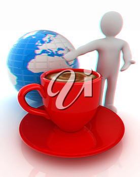 3d people - man, person presenting - Mug of coffee with milk. Global concept with Earth. 3D illustration. Anaglyph. View with red/cyan glasses to see in 3D.
