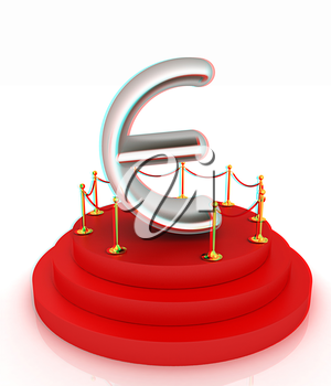 Euro sign on podium. 3D icon on white background . 3D illustration. Anaglyph. View with red/cyan glasses to see in 3D.