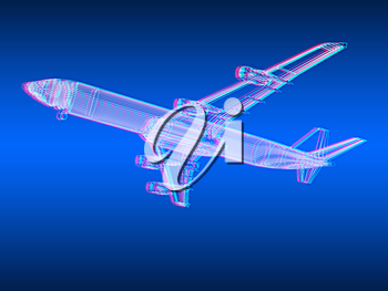 3d model Flying airplane on gradient background. 3D illustration. Anaglyph. View with red/cyan glasses to see in 3D.