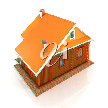 Wooden travel house or a hotel on a white background. 3D illustration. Anaglyph. View with red/cyan glasses to see in 3D.