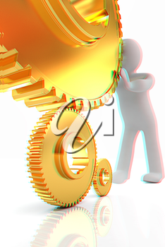 Gold gear set with 3d man on a white background. 3D illustration. Anaglyph. View with red/cyan glasses to see in 3D.
