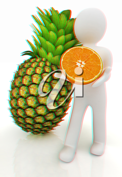 3d man with citrus on a white background. 3D illustration. Anaglyph. View with red/cyan glasses to see in 3D.